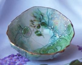 Memento White flower bowl small Porcelain, stains, decals glaze 10x10x5 $55