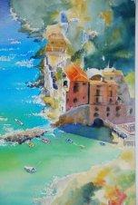 Amalfi watercolour 29 ins 37 $595.00