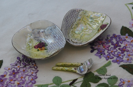 Memento bowl dipping bowls with spoons Porcelain, stains, decals glaze 8.5x7.5x10 (each bowl) $60 for the set