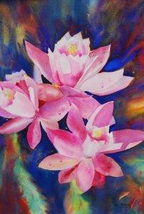 Christmas cactus. Watercolour 28.ins x39 $650.00