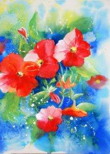 Petunias watercolour 27x31 $450.00
