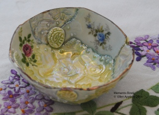 Memento bowl red and blue roses Porcelain, stains, decals glaze 10x10x5 $55