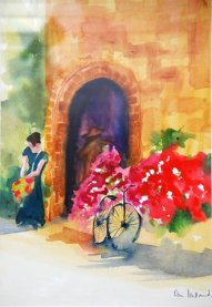 Somewhere in france watercolour 22x27 $350