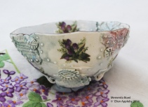 Memento bowl tulips Porcelain, stains, decals glaze 12x12x6 $70