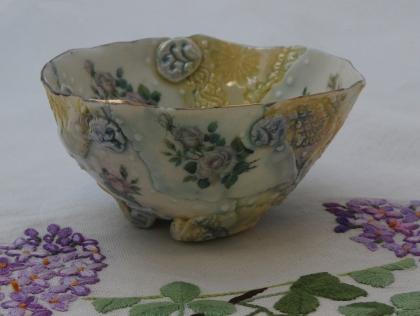 Memento bowl white roses Porcelain, stains, decals glaze 12x12x6 $70