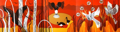 Birds of the Outback Triptych Acrylic on canvas 92 cm H x 3.360 W $2,500.00
