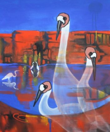 Brolgas at the Billabong Acrylic on canvas 61 cm H x 51 cm W $250.00