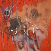 Frenzy – Herding Cattle Tom Price WA Style Acrylic on canvas 92 cm H x 92 cm W $750.00