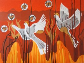 Yellow Crested White Cockatoo with Butterflies Acrylic on canvas 91 cm H x 122 cm W $950.00